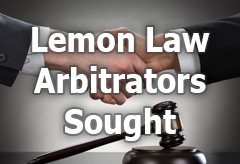 Lemon Law Arbitrators Sought title=